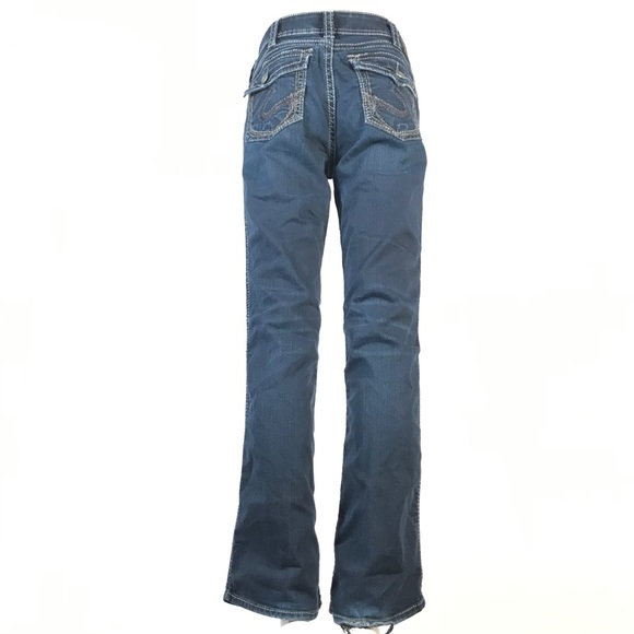 2 for $30 Silver mid slim boot jeans flap pockets